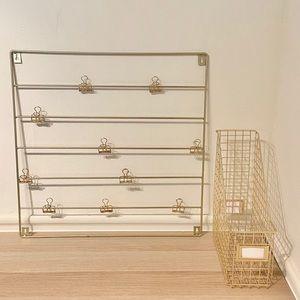 2 Piece Gold Wire Desk Set